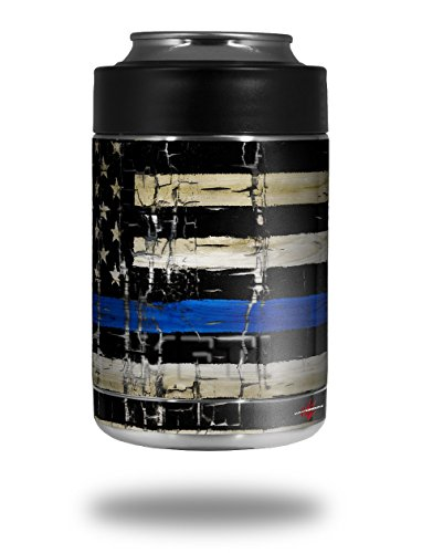 Skin Decal Wrap for Yeti Colster, Ozark Trail and RTIC Can Coolers - Painted Faded Cracked Blue Line Stripe USA American Flag (COOLER NOT INCLUDED) by WraptorSkinz