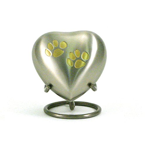 OneWorld Memorials Pet Paw Bronze Keepsake Urns Extra Small Holds Up to 3 Cubic Inches of Ashes Pewter Silver Cremation Urn for Ashes Engraving Sold Separately