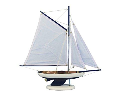 Hampton Nautical  Wooden Bermuda Sloop Dark Blue Model Sailboat Decoration 17