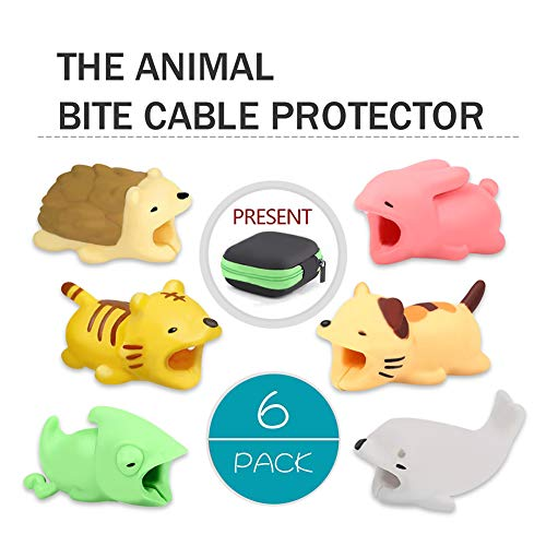 Spring Cable - Cable Bite,Animal Bite Cable Protector with Earphone Storage Bag Tiger Animals Cable Bite Cable Buddies Cord Protector - 6Pcs by HSWT