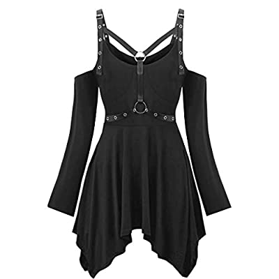 EDC Corset Dress Steampunk for Women Lace Gothic Punk Criss Cross Insert Sleeve T Shirt Plus Size Tops at Women's Clothing store