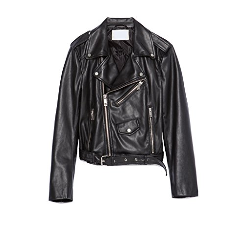 Leather Zippered Jacket (Women's Faux Leather Lay Down Collar Motorcycle Jacket)