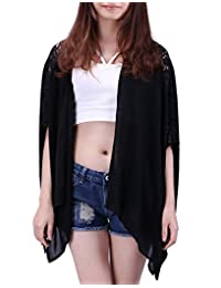 HDE Women's Plus Size Open Front Kimono Cardigan Loose Lace Sleeves Blouse Top