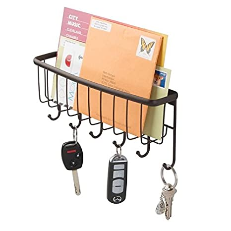 mDesign Mail, Letter Holder, Key Rack Organizer for Entryway, Kitchen - Wall Mount, Bronze MetroDecor 3221MDO