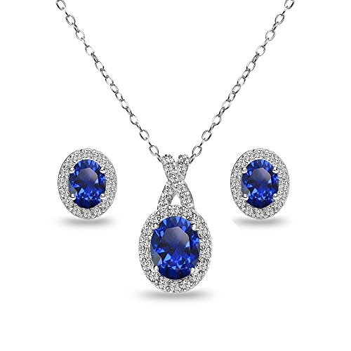 - Sterling Silver Created Blue Sapphire & White Topaz Oval Halo X Necklace & Stud Earrings Set