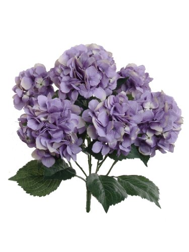 Lavender Hydrangea Silk Flowers Plant | Artificial Hydrangeas Shrub with 7 Large Gorgeous Mophead Bloom Clusters, Leaves, Stems | Home Decor, Wedding, Event Centerpiece, Bouquets, Garden Bush