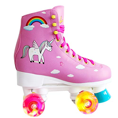 LIKU Quad Roller Skates for Girl and Women with All Wheel Light Up,Indoor/Outdoor Lace-Up Fun Illuminating Roller Skate for Kid (Pink, 5-6)