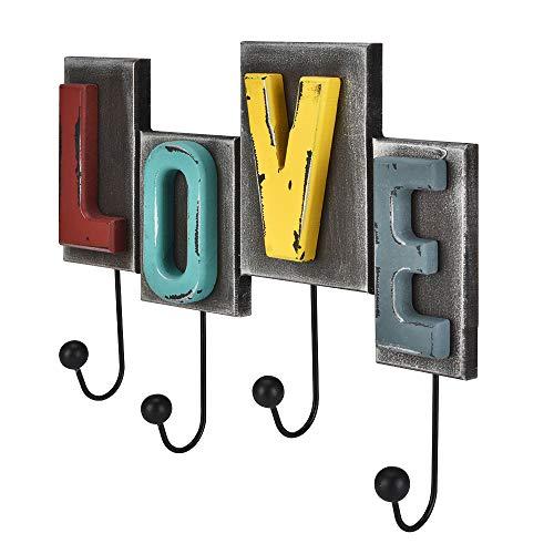 (Eluck Love Key Hook Wall Key Hook Retro Vintage Style Hanging Clothes, Hat, Towel in Bedroom, Living Room, Hallway, Bathroom)