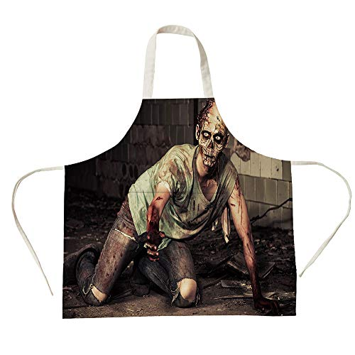 3D Printed Cotton Linen Big Pocket Apron,Zombie Decor,Halloween Scary Dead Man in Old Building with Bloody Head Nightmare Theme,Grey Mint Peach,for Cooking Baking Gardening