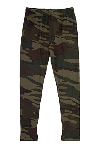 Girl's Dark Military Camouflage Pattern Print Leggings - Olive Green L/XL