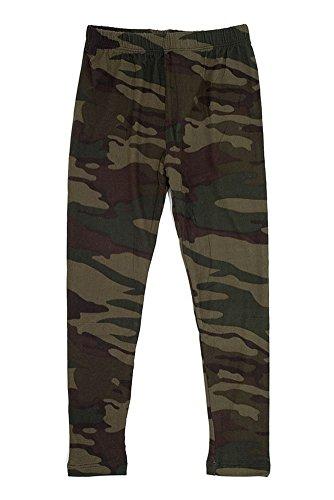 Girl's Dark Military Camouflage Pattern Print Leggings - Olive Green S/M (Leggings Kids)