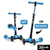 Lascoota 2-in-1 Kick Scooter with Removable Seat Great for Kids & Toddlers Girls or Boys – Adjustable Height w/Extra-Wide Deck PU Flashing Wheels for Children from 2 to 14 Year-Old