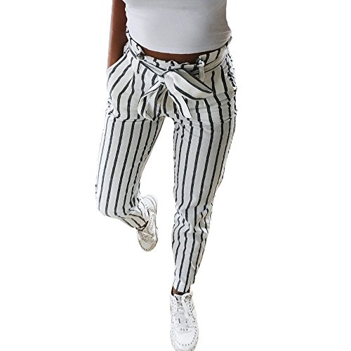 VEZAD Skinny Women Striped Long Jeans Tie High Waist Ladies Pants Trouser