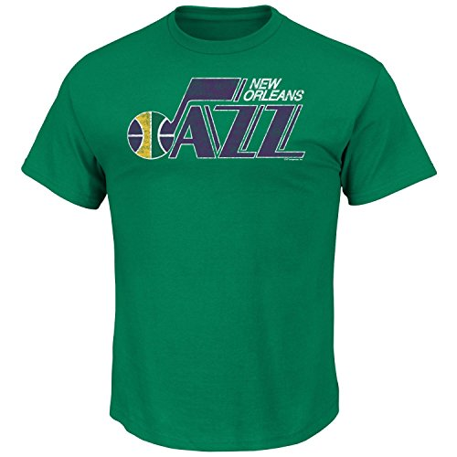 Hood Athletic Majestic (NBA Men's Weathered Post Up T-shirt (Small, New Orleans Jazz))