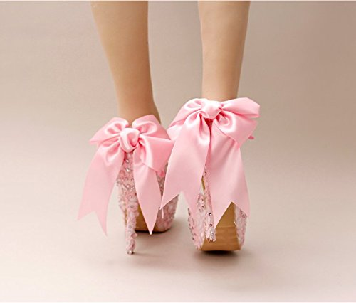 Dress Wedding Sandals 6 Toasts Formal Shoes Heels Bow Heel VIVIOO Hair For Fine High Wedding 12Cm Lace Prom Bride'S Pink Knot Dress Pumps Women'S TxxgOR