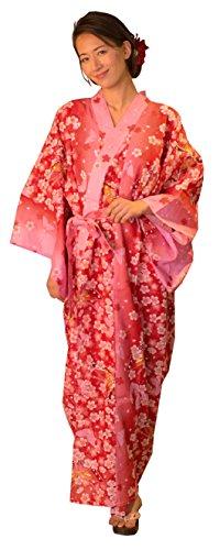 Kimura Jitsugyo Women's Kyoto Traditional Easy Wearing Kawaii Yukata Robe(Japanese Casual Kimono) Cherry Blossoms & Butterfly Set 2 Large Woman by Kimura Jitsugyo