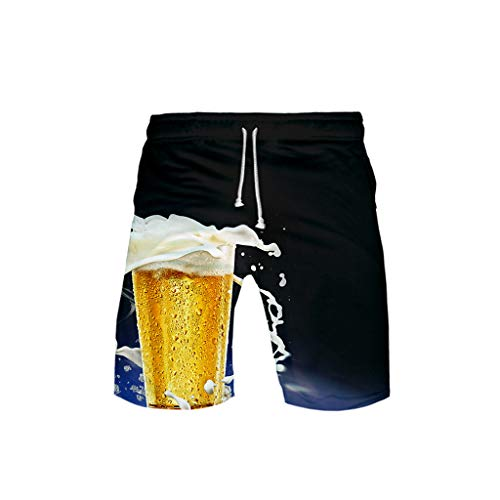 JOFOW Beach Shorts Womens Mens Loose Beer Festival Print Costume Midi Pants Casual High Waist Cool Funny Cargo Trousers Gift -