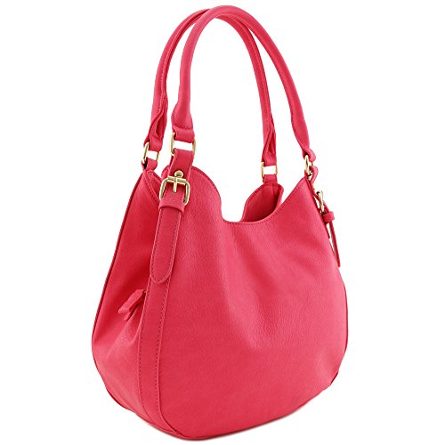 Light-weight 3 Compartment Faux Leather Medium Hobo Bag (Fuchsia)