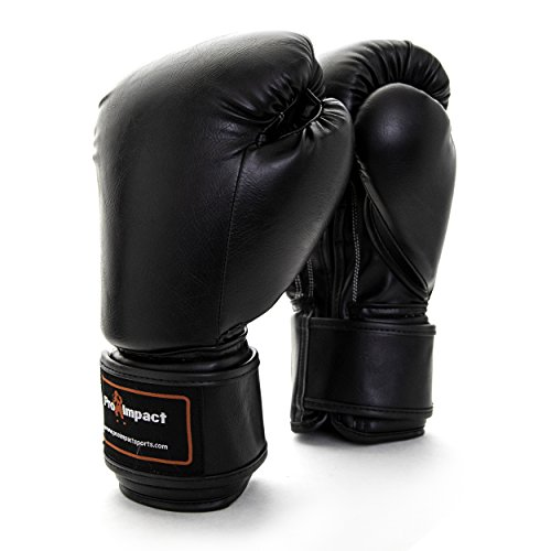 Pro Impact Boxing Gloves Black - Durable Knuckle Protection w/Wrist Support for Boxing MMA Muay Thai or Fighting Sports Training/Sparring Use (PU Leather 14 Oz.)]()