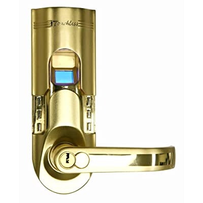 Image of Deadbolts iTouchless Bio-Matic Fingerprint Door Lock, Right Handle, Gold