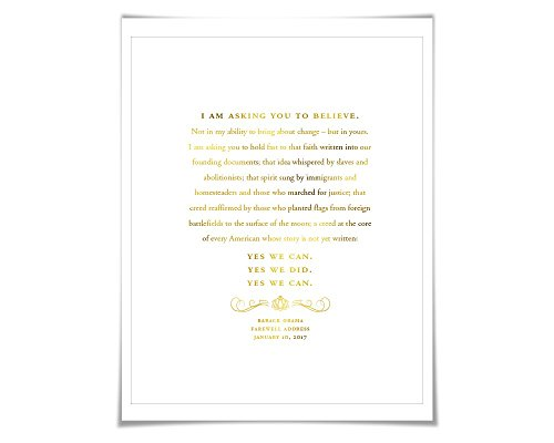 Barack Obama 2017 Farewell Address Speech Gold Foil Art Print. 7 Foil Colours. Political Art. American History