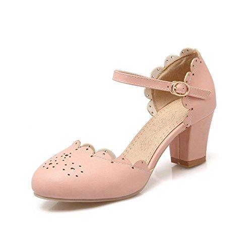 Frauen Beiläufige Niedrige Ferse Runder Zehe Knöchel Schnalle Falbala Pumps Schuhe Mädchen Pumps Pink