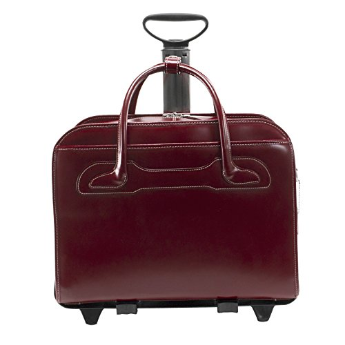McKleinUSA Willowbrook [Personalized Initials Embossing] Leather Patented Detachable -Wheeled Ladies' Laptop Briefcase in Red by McKlein (Image #3)