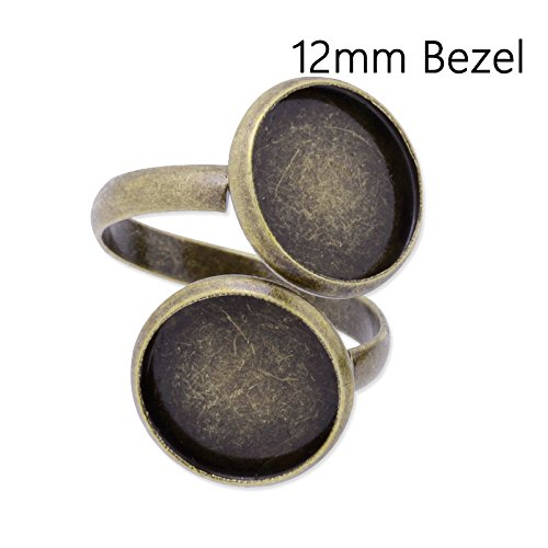 (20pcs Antique Bronze Plated Ring Base with 2 Blank Bezel fit 12mm Cabochon)