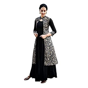 Anuj Sales Women's Rayon Regular Kurta (AS-106_Black_X-Large)