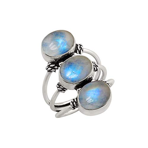 925 Silver Plated Genuine Oval Shape Rainbow Moonstone Three Stone Ring Vintage Style Handmade Oxidized Finish for Women Girls -