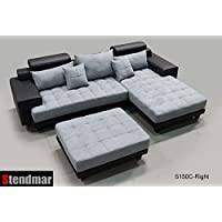 3PC Modern Black Grey Sectional Sofa Chaise Ottoman S150CRBG