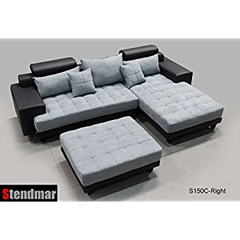 this item 3pc modern black grey sectional sofa chaise ottoman s150crbg