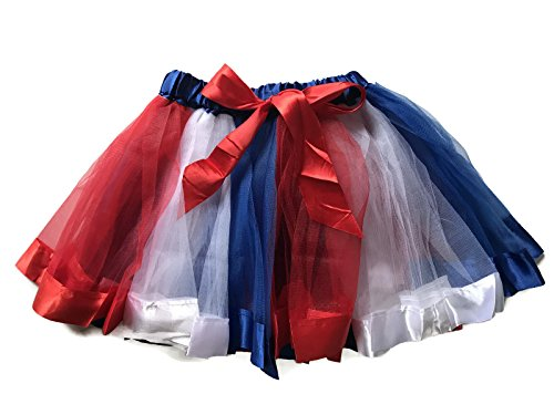 Double Rainbow Costume (Rush Dance BIRTHDAY RAINBOW RIBBON BOW Ballerina Girls Dress-Up Princess Costume Tutu (Medium (2-4 Years), Red, Blue & White))