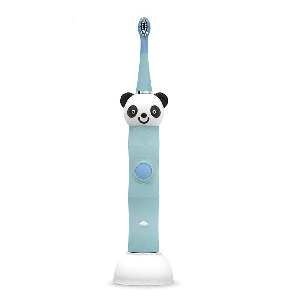 Gohbqany Electric Toothbrush Children's Electric Toothbrush Soft Hair Clean Toothbrush Waterproof with USB Charging Base (Color : Blue, Size : Free Size)