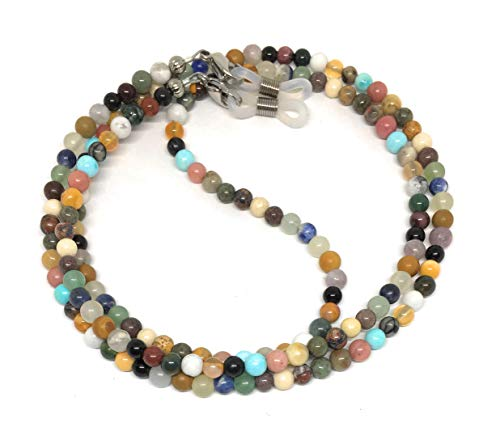 - multi gemstone stone eyeglass chain for reading glasses