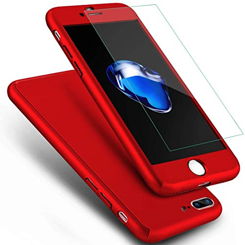 Price comparison product image iPhone 8 Plus Case, iPhone 7 Plus Case,  ANOLE Ultra-thin Full Body Coverage Hard Plastic Matte [Tempered Glass Screen Protector] 360 All Round Shockproof Hybrid Cover Skin for Apple 5.5 Inch (Red)