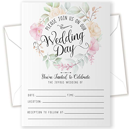 Wedding Invitations & Blank Envelopes – Set of 25 – Blank Wedding Stationery – Beautiful and Minimalist Wedding Planning Supplies for Under $15!