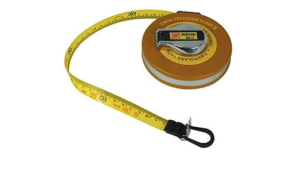 Medid MD/136030 Cinta métrica con estuche metálico recubierto, fibra de vidrio en clase II, doble precisión, 30 m: Amazon.es: Bricolaje y herramientas