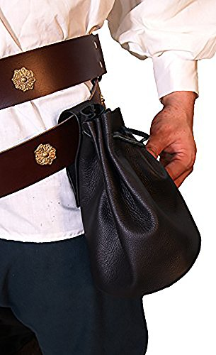 Medieval-Larp-SCA-Pagan-Reenactment-Wicca-ARCHER-BLACK LEATHER MEDIEVAL PILGRIM OR NOBLEMAN BAG