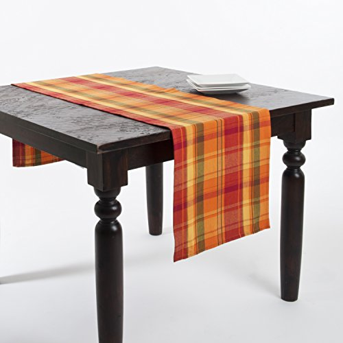 Fennco Styles Harvest Plaid Design Cotton Terracotta Table Runner (16''x72'') by Fennco Styles