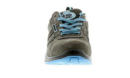 NUEVO mujer gris / Azul Tradesafe Barcaza Zapatos De Seguridad Gris/Azul - GB Tallas 3-9