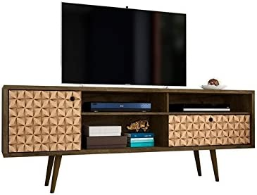 ModHaus Living Mid Century Modern Wood 70 inch 4 Shelves TV Stand