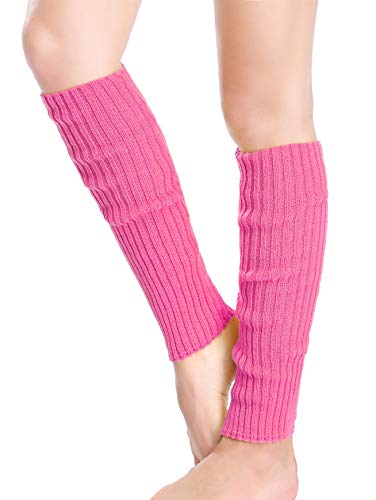 *daisysboutique* Retro Unisex Adult Junior Ribbed Knitted Leg Warmers (One Size, Rosepink)