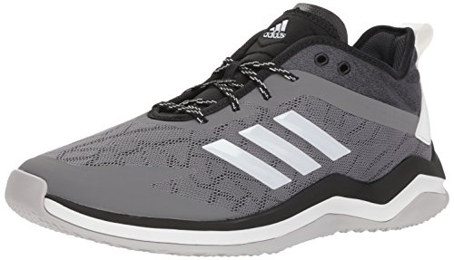 adidas Men's Speed Trainer 4 Baseball Shoe, Grey/Crystal White/Black, 9.5 M US