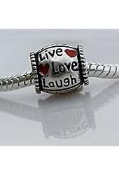 """Antique Silver """"Live Love Laugh"""" Design Bead Charm"""