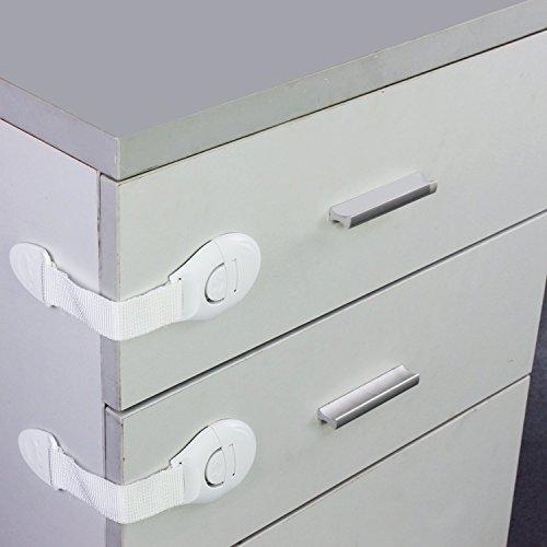HUAJI 3 Pcs Child Safety Lock Latch Drawer Cabinet Cupboard Door