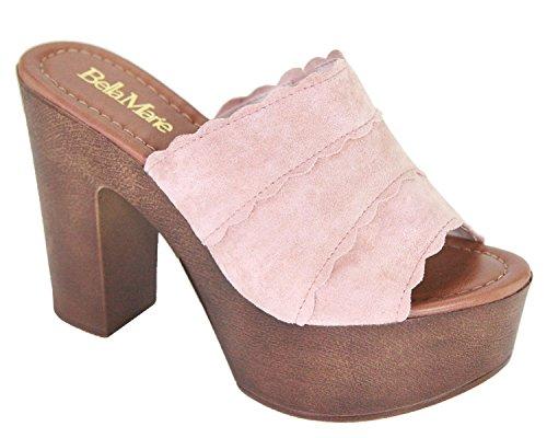 Toe Clogs Chunky Open Mules Women Heel Pink Slip Colors Block BM Platform All On x5qIpp