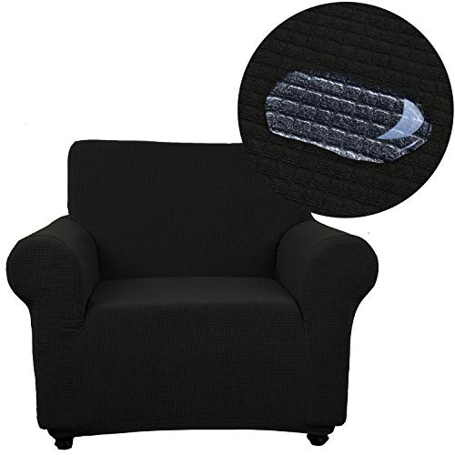 Arm Chair Polyester Cushion - ANJUREN Chair Slipcover Water Repellent 1 Piece Arm-Chair Sofa Couch Cover Waterproof 1 Seater Cushion Living Room Furniture Armchair Slip Covers Polyester Spandex Stretch Protector (Chair, Black)