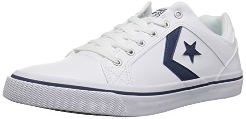 (Converse EL Distrito Leather Low Top Sneaker White/Navy/White, 11 M US)