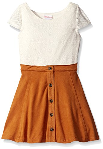 Youngland Little Girls' Crochet Bodice Suede Skirted Dress With Faux Button Front Detail, Ivory/Tan, (Faux Button Front)